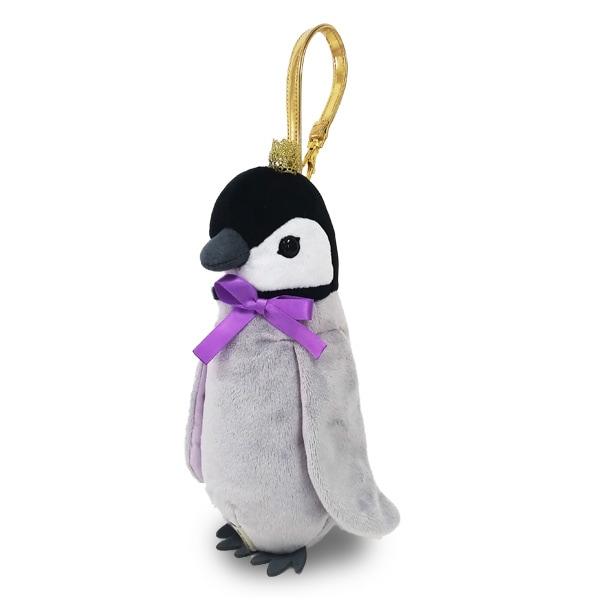 ペンやコスメ入れにお勧め!王冠をかぶった可愛いベイビーペンギンのポーチ。バッグチャームやゴルフボールポーチとしてもカワイイ。ソフトボア素材。