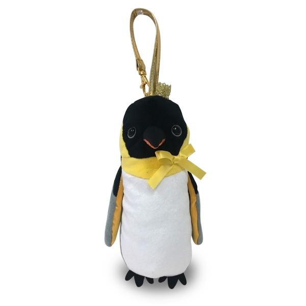 ペンやコスメ入れにお勧め!王冠をかぶった可愛いエンペラーペンギンのポーチ。バッグチャームやゴルフボールポーチとしてもカワイイ。ソフトボア素材。