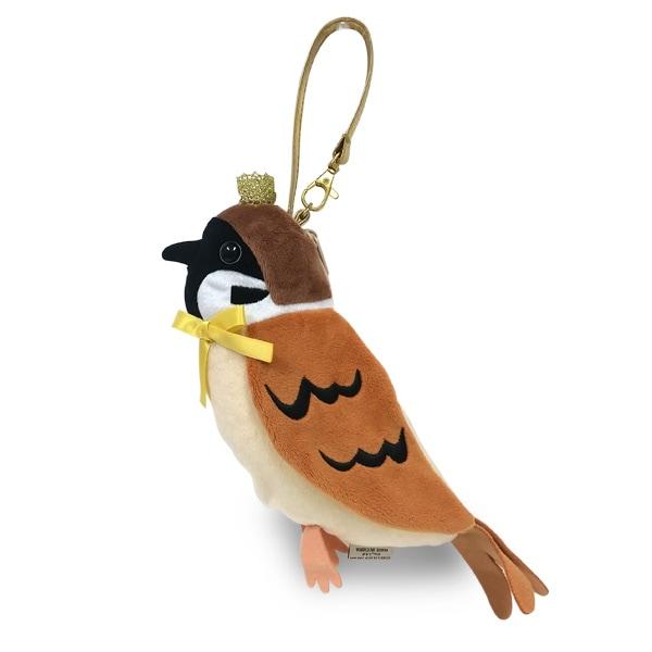 王冠をかぶった小鳥のポーチ。ペンやコスメポーチにオススメ。