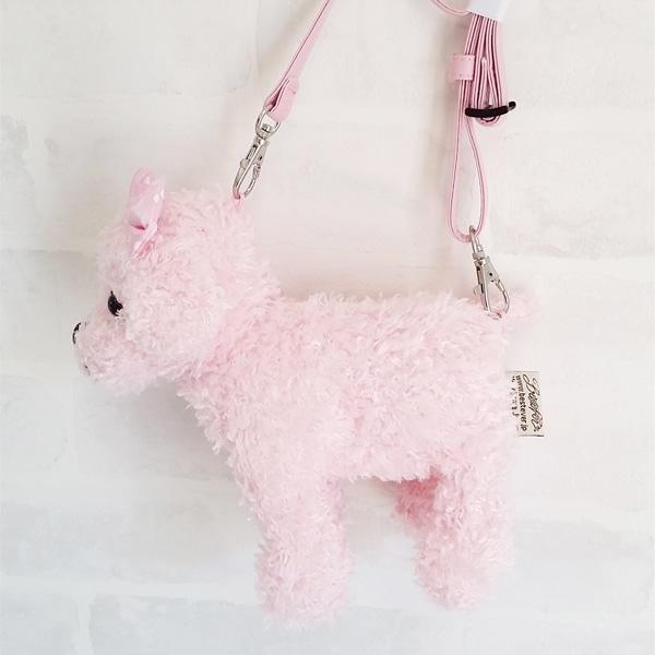 ピンクプードルのぬいぐるみをミニポシェットにしました。子犬みたいに小さくて可愛いサイズ。ストラップは長さ調整もOKです。