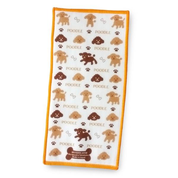 ガーゼ面とタオル地面の両面異素材、トイプードルのタオル。