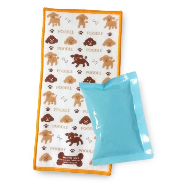 MADE IN JAPAN!! ガーゼ面とタオル地面の両面異素材、トイプードルのタオル。ポケットタイプのジェル付き!ジェルは冷凍庫にいれても凍らないタイプ。