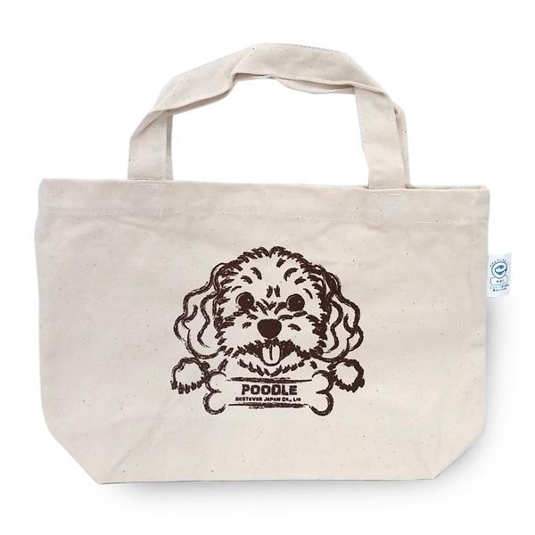トイプードルプリントのシンプルなキャンバスバッグ。
