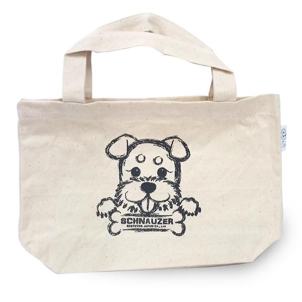 シュナウザープリントのシンプルなキャンバスバッグ。