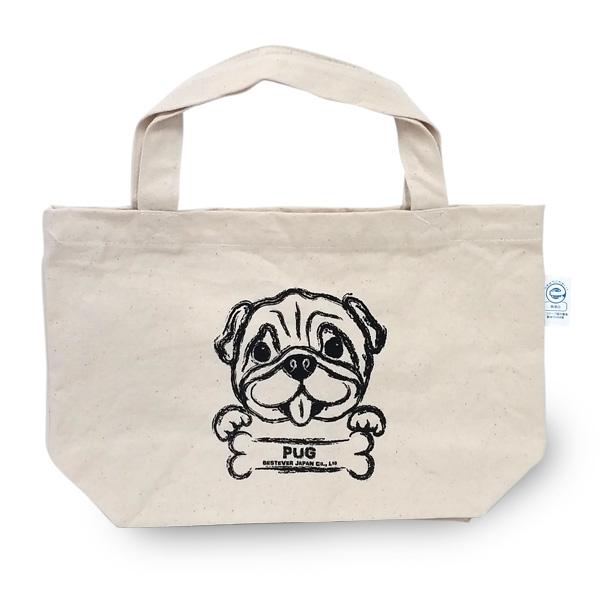 パグプリントのシンプルなキャンバスバッグ。