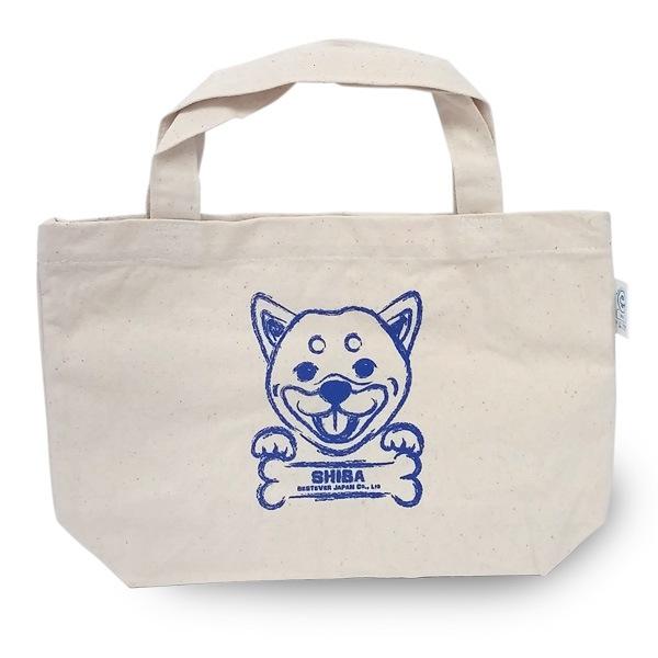柴犬プリントのシンプルなキャンバスバッグ。