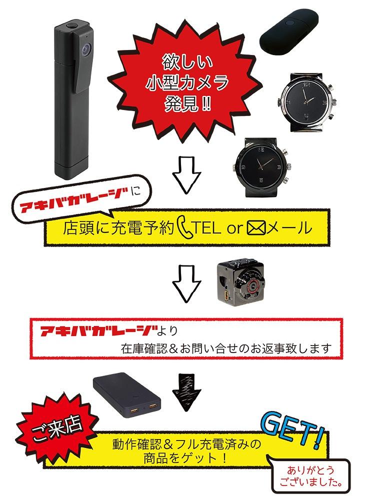 小型カメラ充電サービス流れ