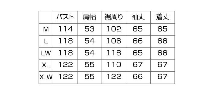 サイズスペックの数値はこちらのとおりです DEGNER「シープレザージャケット/13WJ-1C」