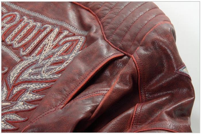 レザー 本革 牛革 刺繍 ライダース ワイン バイカ— ジャケット 秋 冬 男 16WJ-1 デグナー DEGNER バイク