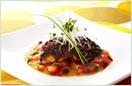 秋鯖の辛子味噌焼きトマトあんソース
