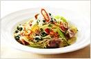 博多カツオ菜とじゃこベーコンのスパゲティ