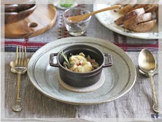 白子と茸のカマンベールチーズフォンデュ