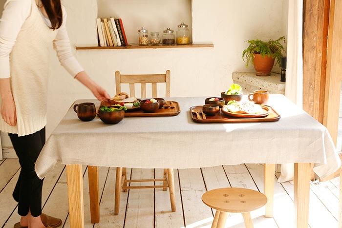 木製のテーブルウェア「シェーヌドウシリーズ」