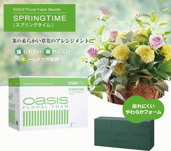 OASIS®Floral Form Maxlife SPRING TIME スプリングタイム〜茎の柔らかい草花のアレンジメントに〜