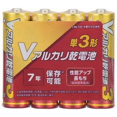 Vアルカリ乾電池 単3形 4本パック|LR6VN4S 08-4033