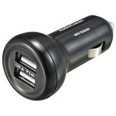 カーチャージャー USB 車で充電 車載用充電器 2.4A+1.0A 2ポート AudioComm|MAV-DU034N 03-3055