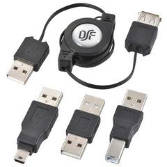 USB変換コネクターセット A-A A-B A-miniB 伸縮80cm_PC-NUST-K 01-3357