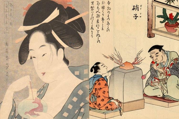 浮世絵に描かれるガラスと江戸の硝子職人図