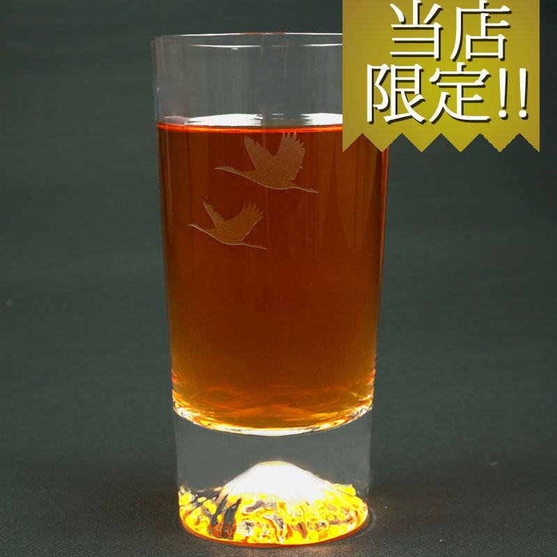 長寿や仲良し夫婦の象徴「鶴」デザイン富士山タンブラー