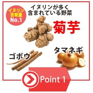 イヌリンが多く含まれるゴボウ、タマネギ、菊芋