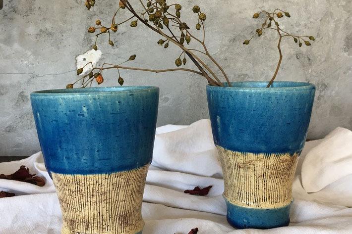 ターコイズブルーのフリーカップ