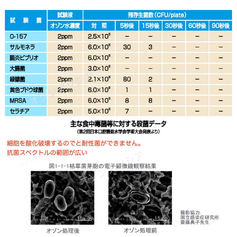 オゾン水 殺菌データ 効果
