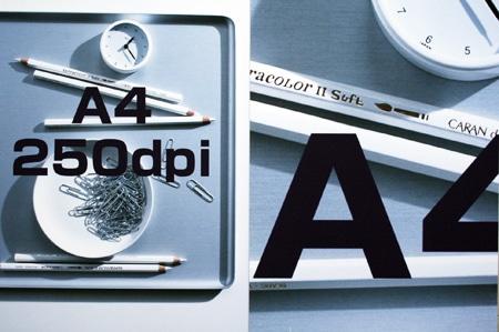 A4サイズ250dpiの写真データをA0サイズに拡大