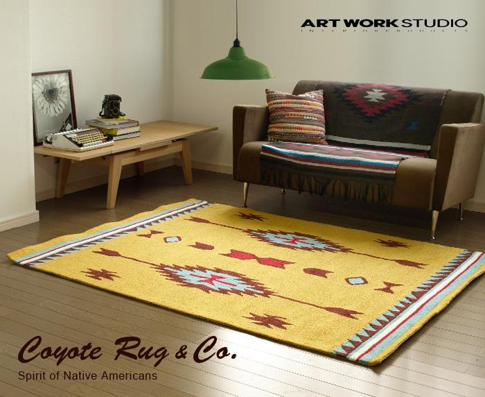 コヨーテラグ ネイティブアメリカン coyote rug native american artworkstudio ラグ