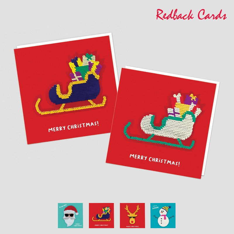 Redback Cards スパンコール付メッセージカード MERRY CHRISTMAS