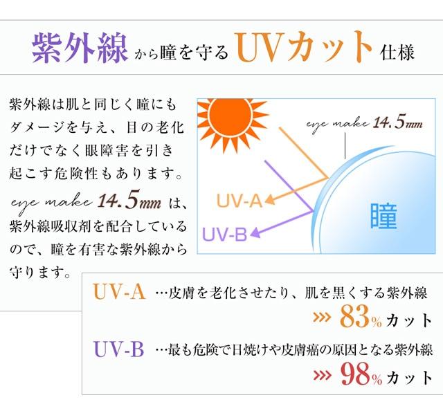 紫外線から瞳を守る、UVカット仕様