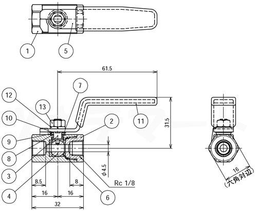 黄銅製ボールバルブ レデュースドボア型 GC寸法表1/8