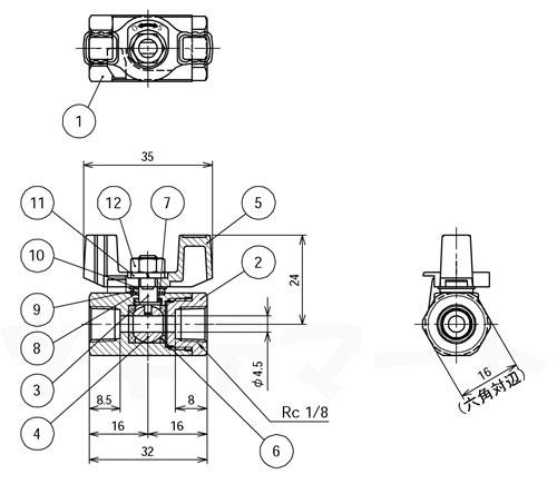 黄銅製ボールバルブ レデュースドボア型 GCW寸法表1/8