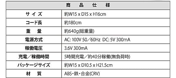 【送料無料】 軽量コンパクト電動ドリル 3.6V 【コードレス・LEDライト付き】仕様