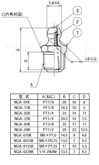 黄銅メッキ付グリースニップル A型 NGA寸法表