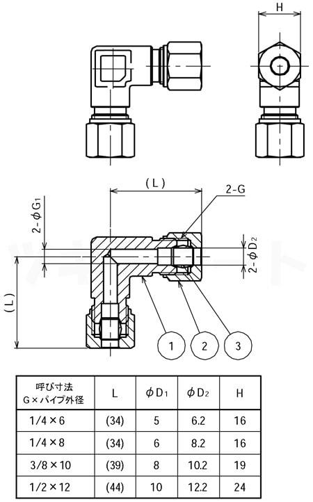 リングジョイント(黄銅製銅管くい込み継手) 両口エルボ(二方φ) <RLW>寸法表
