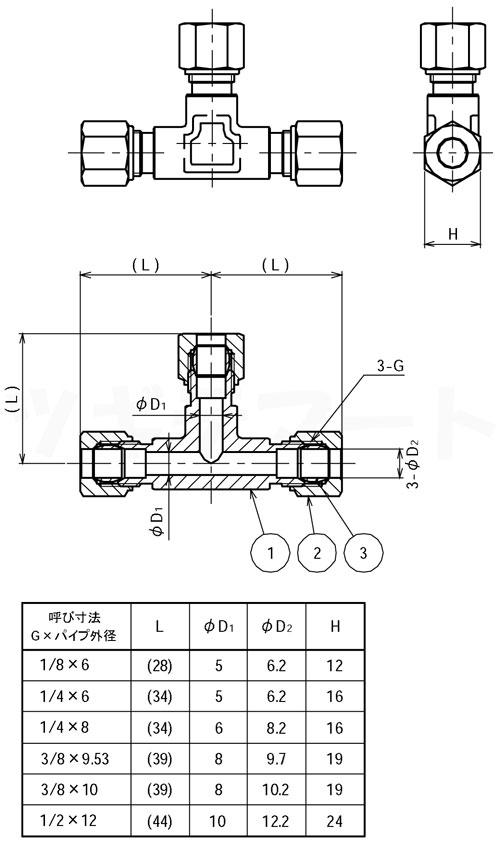 リングジョイント(黄銅製銅管くい込み継手) 三方リングチーズ(三方φ) <RTZ>寸法表