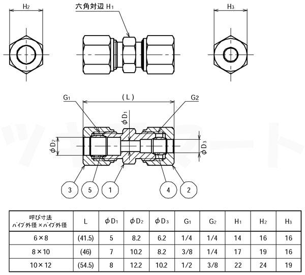 リングジョイント(黄銅製銅管くい込み継手) 異径両口ストレート(φxφ) <RUR>寸法表