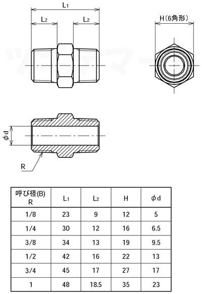黄銅製ねじ込み継手 六角ニップル(二方R) <G6N>寸法表