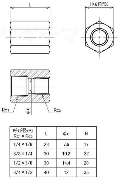 黄銅製ねじ込み継手 異径ソケット(RcxRc) <G6R>寸法表