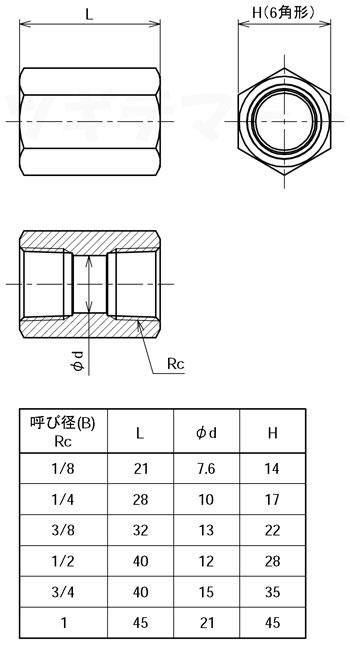黄銅製ねじ込み継手 六角ソケット(二方Rc) <G6S>寸法表