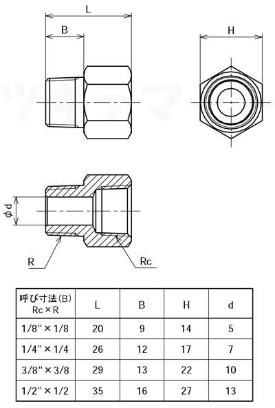 黄銅製ねじ込み継手 同径オスメスソケット(RxRc) <GMF>寸法表