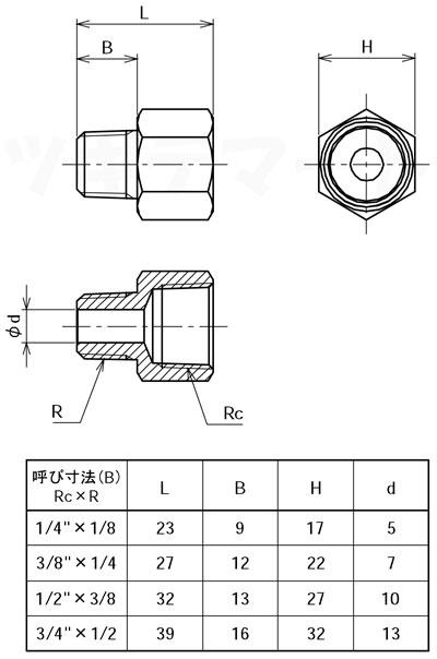 黄銅製ねじ込み継手 異径メスオスソケット(RcxR) <GMF>寸法表