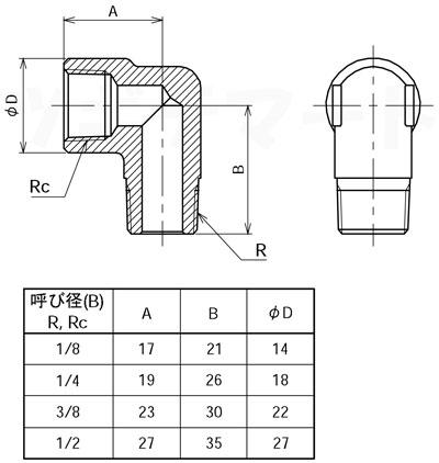 黄銅製ねじ込み継手 ストリートエルボ(RxRc) <GSL2>寸法表