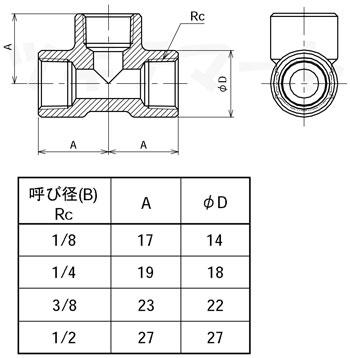 黄銅製ねじ込み継手 チーズ(三方Rc) <GT2>寸法表