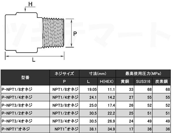 NPTねじ込み継手(黄銅) プラグ(NPTオネジ) <P-NPT>寸法表
