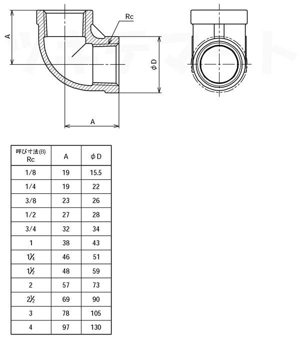 SCS13A製ねじ込み継手 エルボ L寸法表