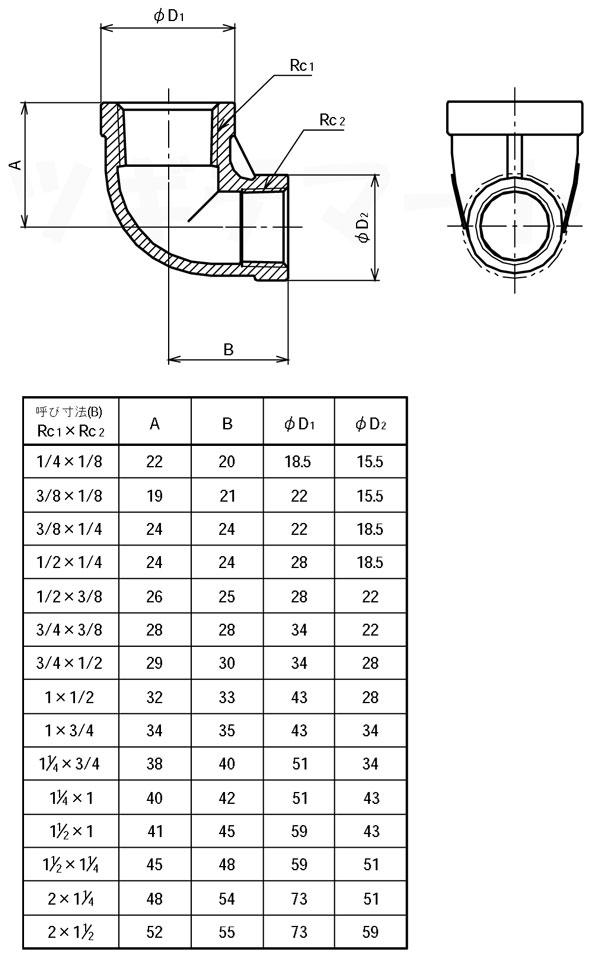 SCS13A製ねじ込み継手 異径エルボ RL寸法表