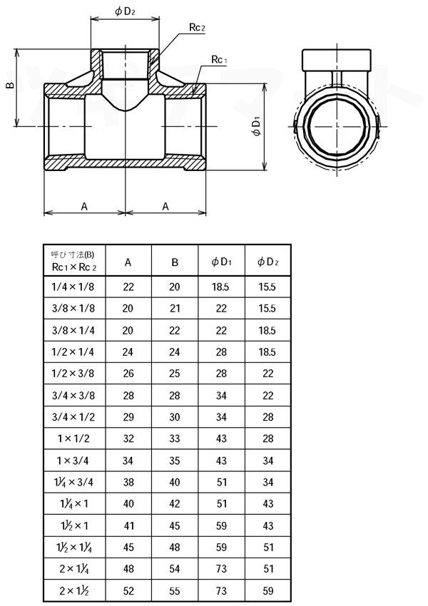 SCS13A製ねじ込み継手 異径チーズ RT寸法表