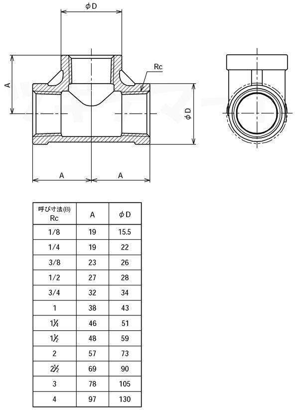 SCS13A製ねじ込み継手 チーズ T寸法表