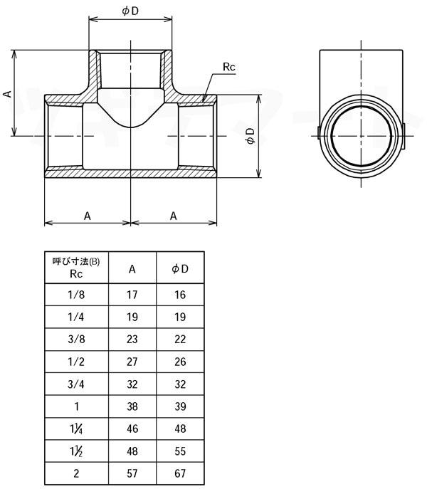 SCS13A製ねじ込み継手 リブなしチーズ T2寸法表